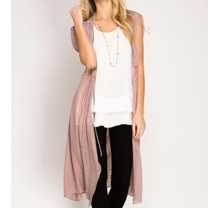 She & Sky Rose Duster with Lace detail